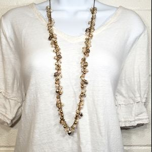 Gold bauble and pearl layering necklace